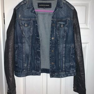 Jean jacket with silver shimmer sleeves